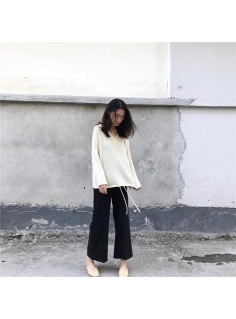 早秋新款女裝韓版V領純色寬松毛衣