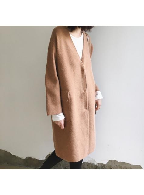 純色中長款厚實針織衫韓版加厚寬松開衫大毛衣