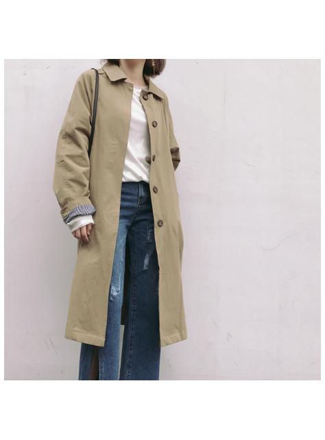 日系A型秋冬韓版寬松顯瘦中長款風衣