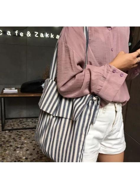 韓國藍灰條紋縮口布袋