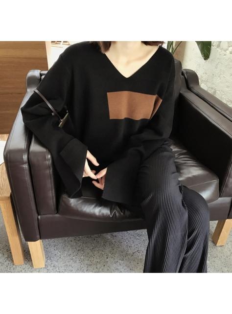 針織工藝 60%羊毛拼色V領寬松顯瘦開叉長袖上衣