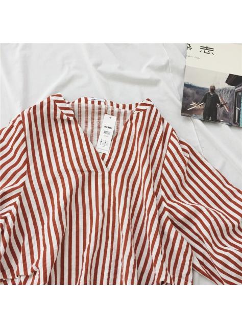 早秋新款條紋寬鬆顯瘦V領休閒韓版百搭長袖襯
