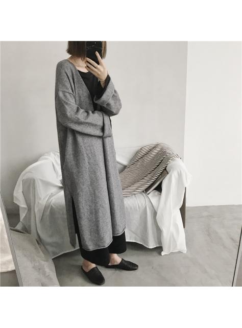 韓版秋冬長款氣質針織系帶寬松毛衣外套