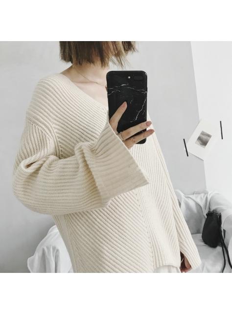 超質感 袖口開叉慵懶針織大毛衣