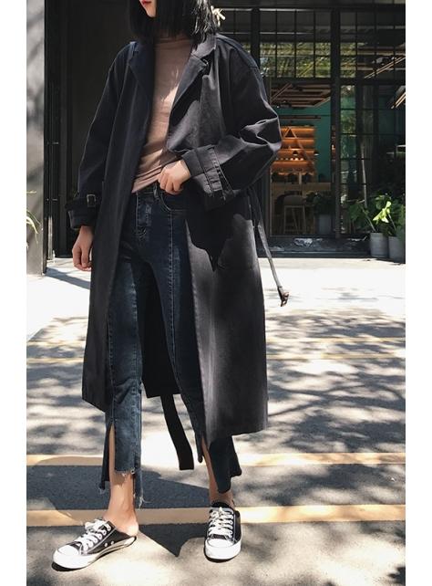 秋冬法式寬鬆顯瘦中長款工裝風衣外套