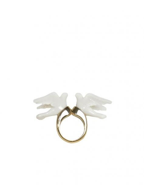 雙白鴿戒指