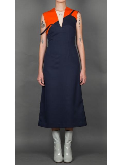 深藍& 橘色拼接不對稱細肩帶洋裝