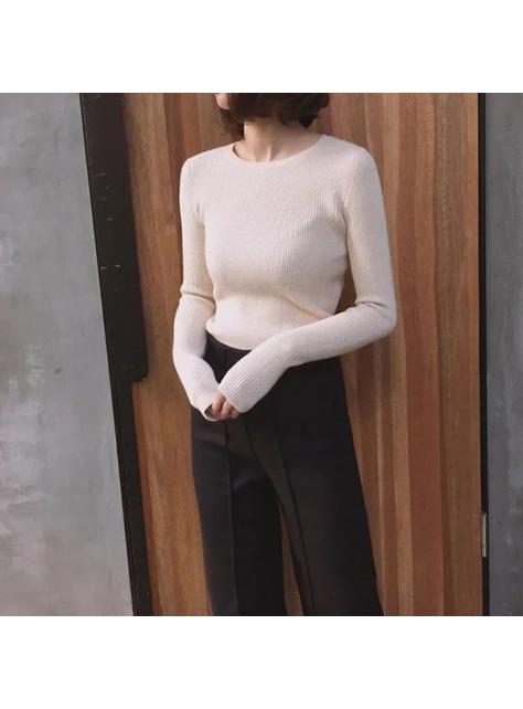 韓版圓領顯瘦條紋針織