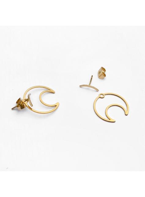 新月錯位解構感耳環