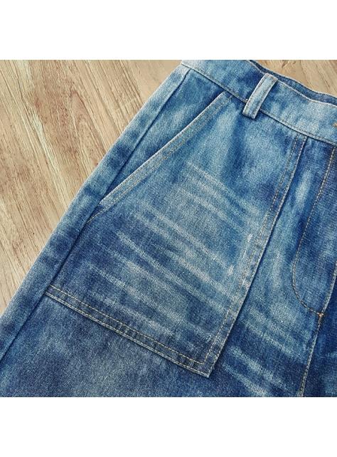 水洗牛仔寬褲