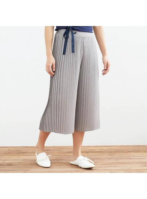 浪漫雪紡壓褶褲裙