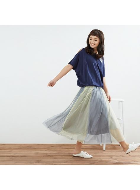 雙色拼接長紗裙