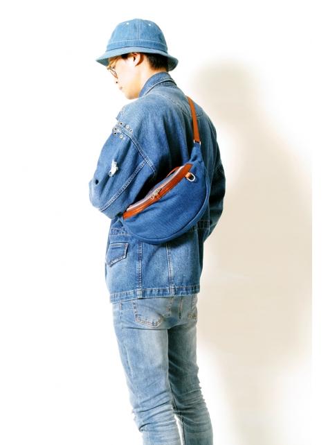 DENIM-手做丹寧牛仔帆布斜側揹/腰包