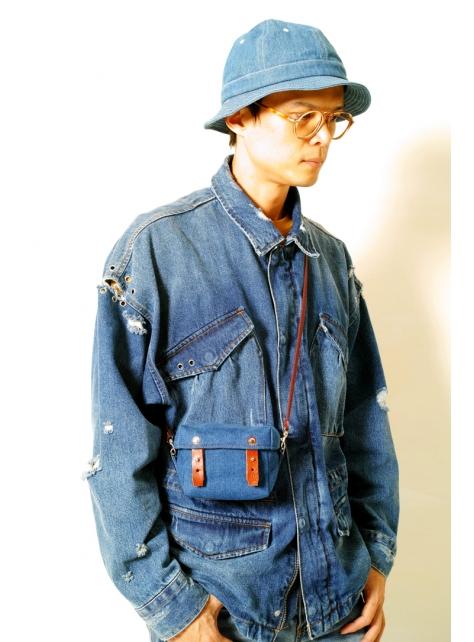 DENIM-手做皮革丹寧牛仔帆布盒型斜側揹/相機/收納包(附揹帶)