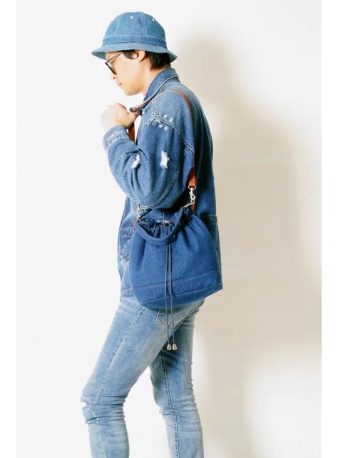 DENIM-手做丹寧牛仔帆布抽皺式手提/斜側揹/水桶包