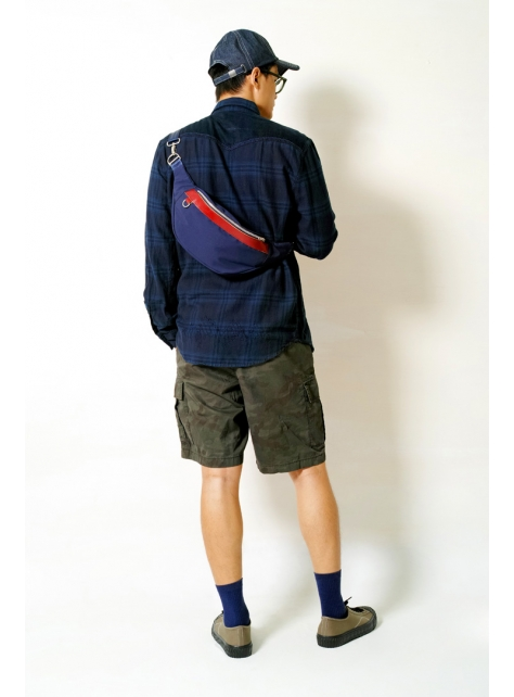 MIDNIGHT-手做皮革防水帆布斜側揹/腰包