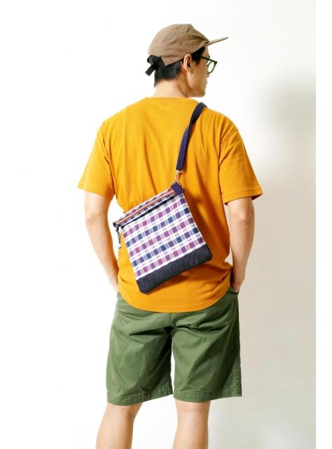 CHECK-手做皮革丹寧格紋法蘭絨布斜側揹/平板電腦/隨身包