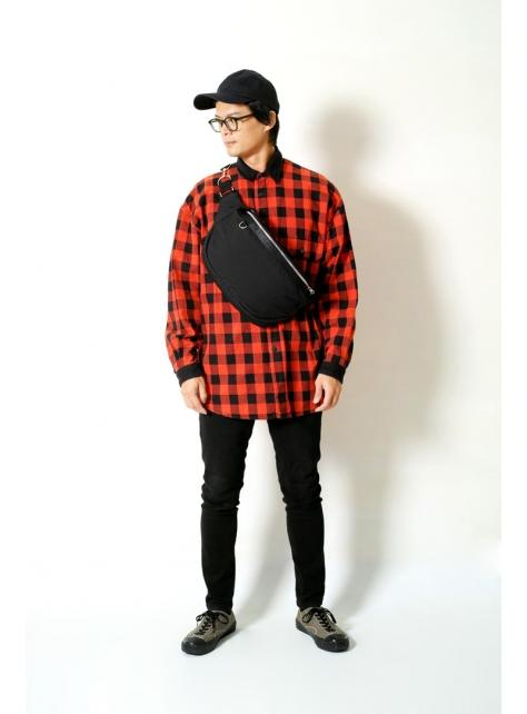 DARK NIGHT-手做壓紋尼龍帆布斜側揹/腰包